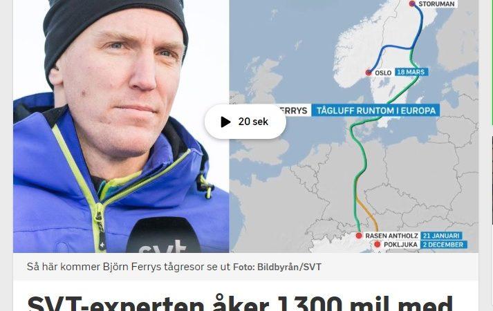SVT-experten Björn Ferry åker 1300 mil med tåg till världscup-tävlingar
